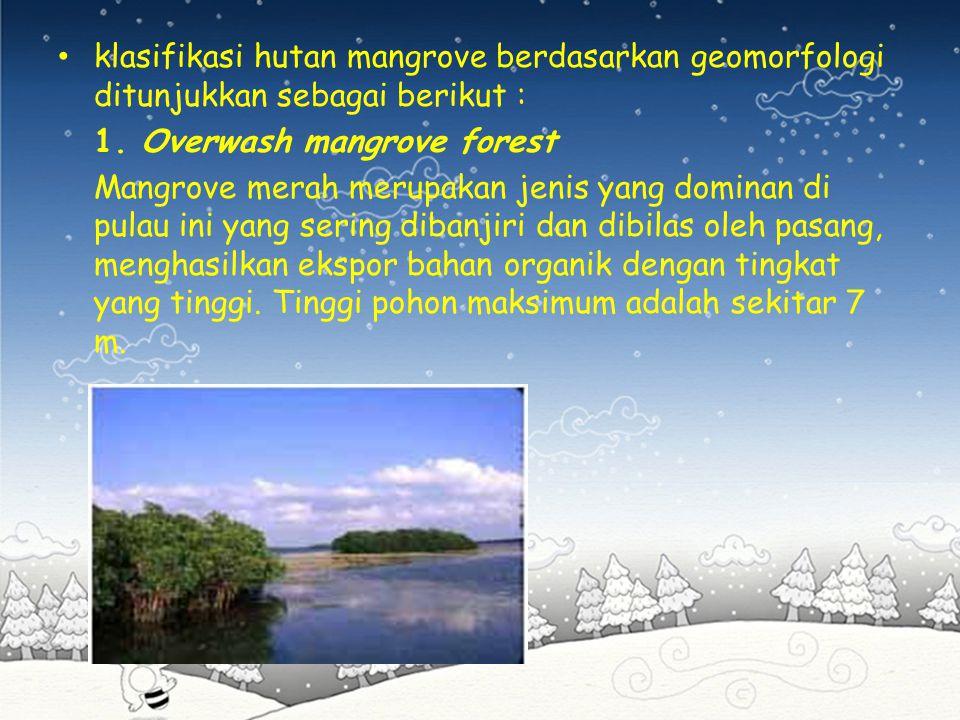 klasifikasi hutan mangrove berdasarkan geomorfologi ditunjukkan sebagai berikut :