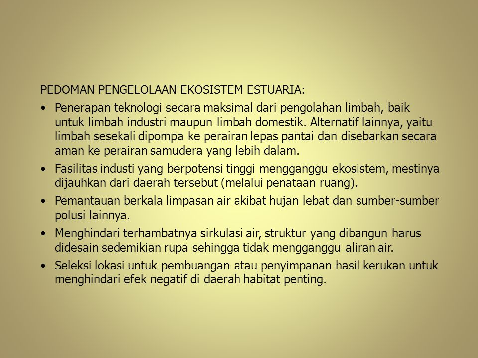PEDOMAN PENGELOLAAN EKOSISTEM ESTUARIA: