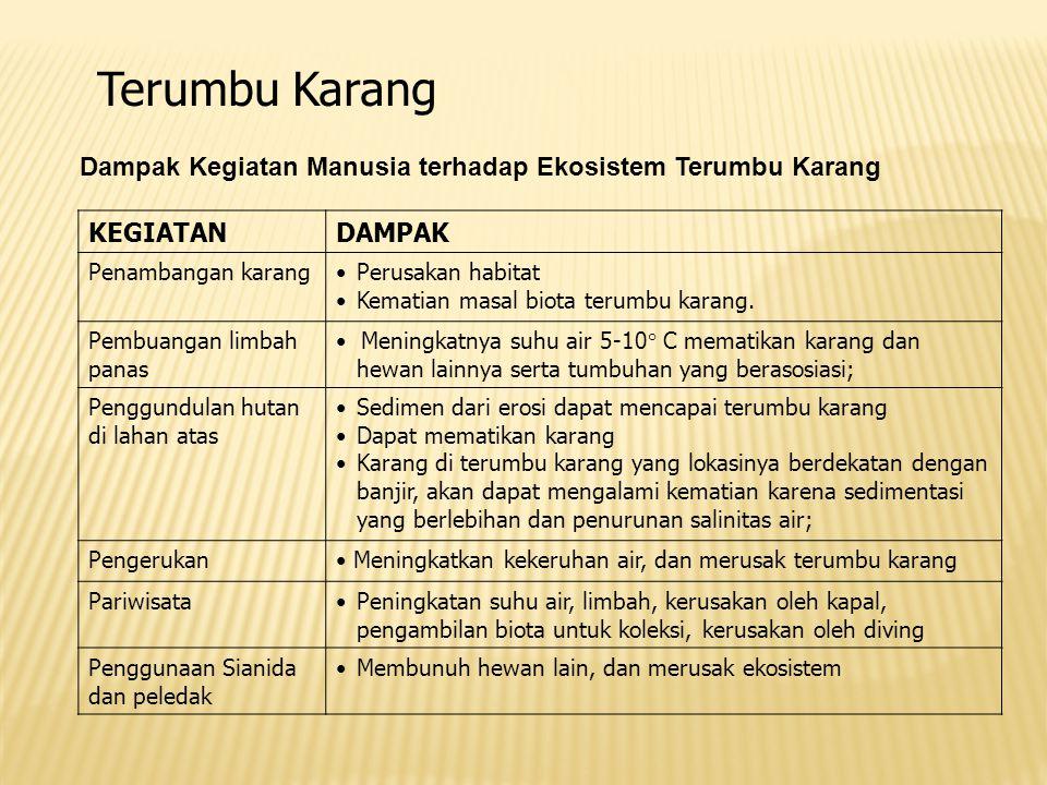 Terumbu Karang Dampak Kegiatan Manusia terhadap Ekosistem Terumbu Karang. KEGIATAN. DAMPAK. Penambangan karang.