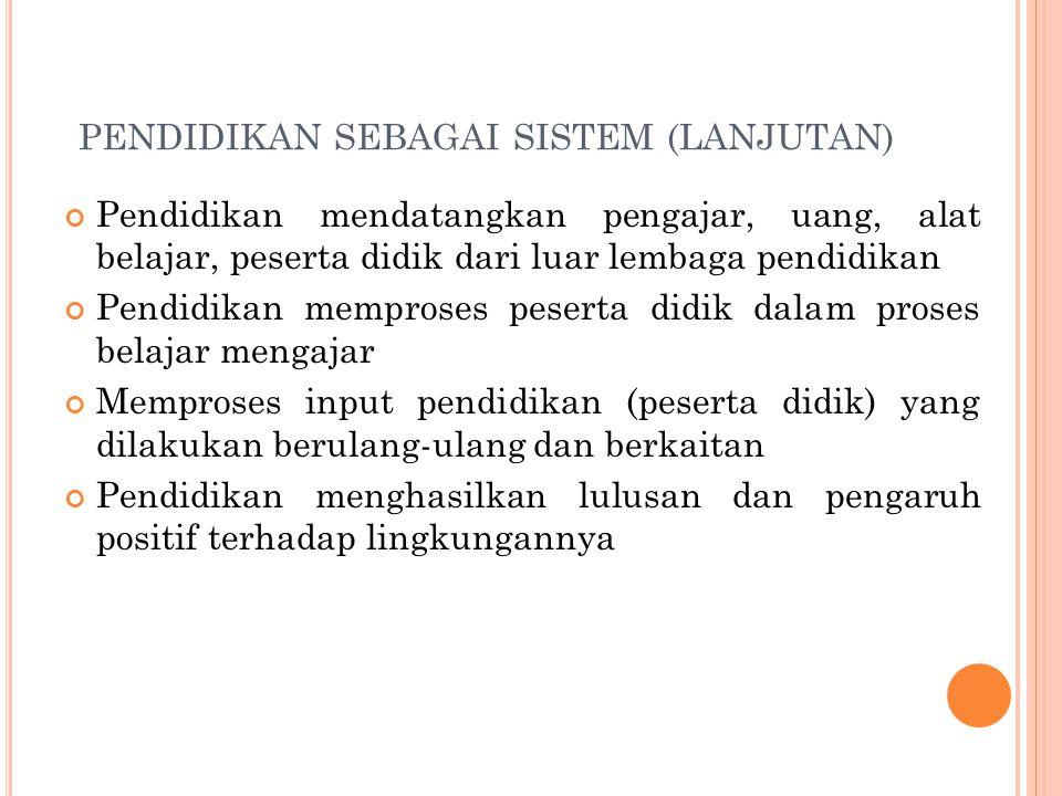 pendidikan sebagai sistem (LANJUTAN)