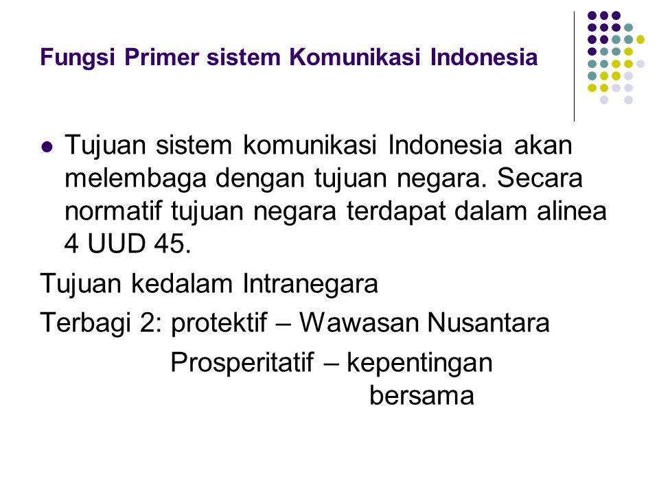 Fungsi Primer sistem Komunikasi Indonesia