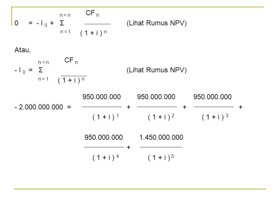 n = n CF n 0 = - I 0 + Σ (Lihat Rumus NPV) n = 1 ( 1 + i ) n.