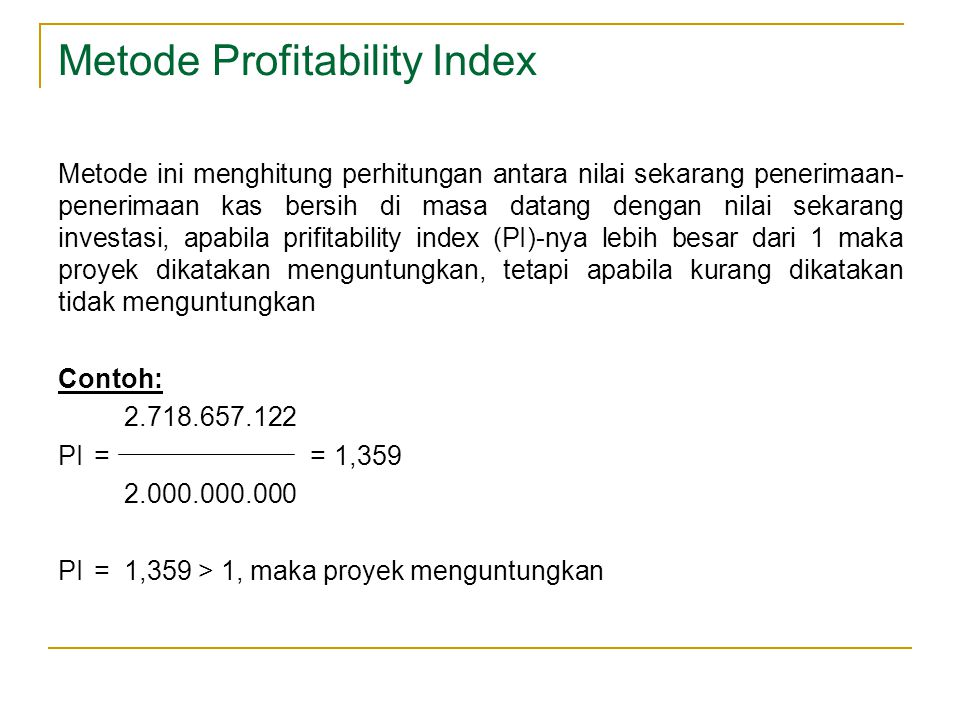 Metode Profitability Index