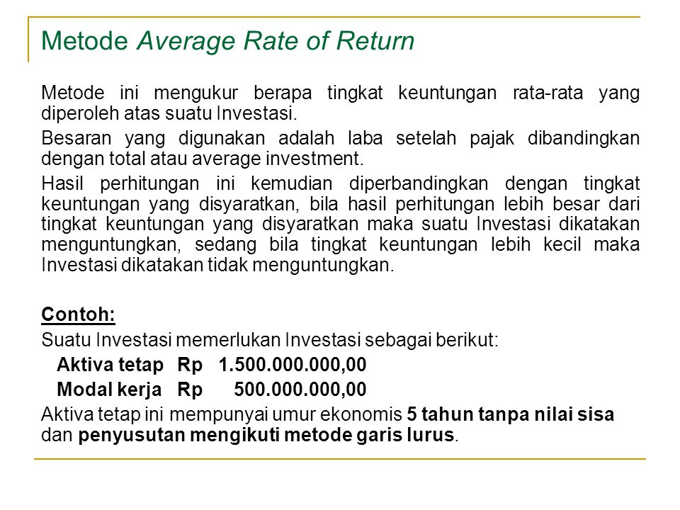 Metode Average Rate of Return