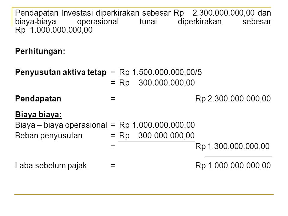 Pendapatan Investasi diperkirakan sebesar Rp 2. 300. 000