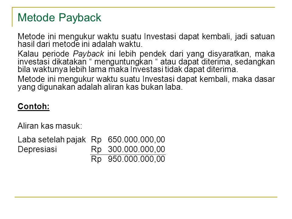 Metode Payback Metode ini mengukur waktu suatu Investasi dapat kembali, jadi satuan hasil dari metode ini adalah waktu.