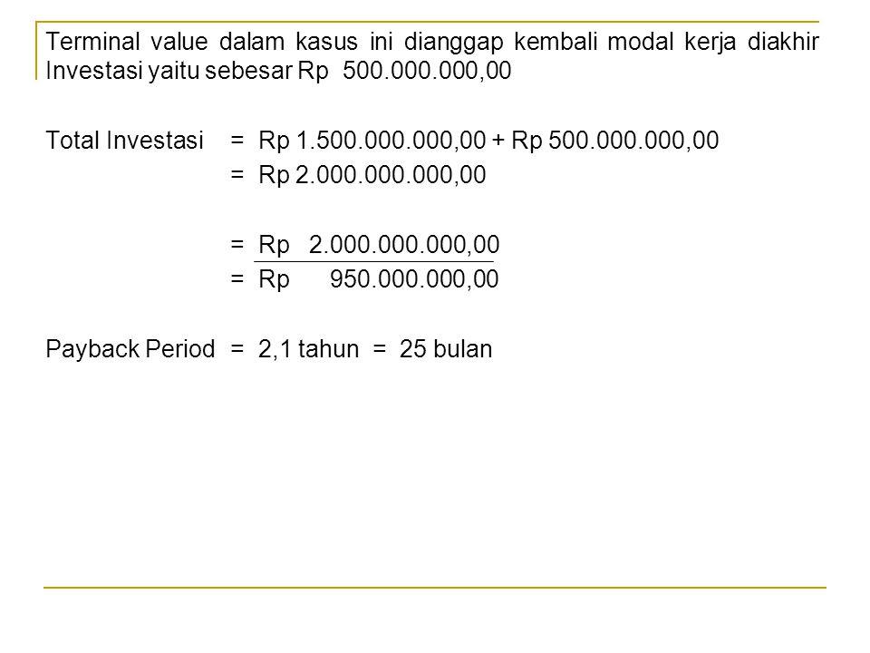 Terminal value dalam kasus ini dianggap kembali modal kerja diakhir Investasi yaitu sebesar Rp 500.000.000,00