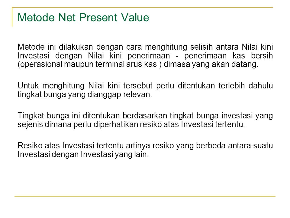 Metode Net Present Value