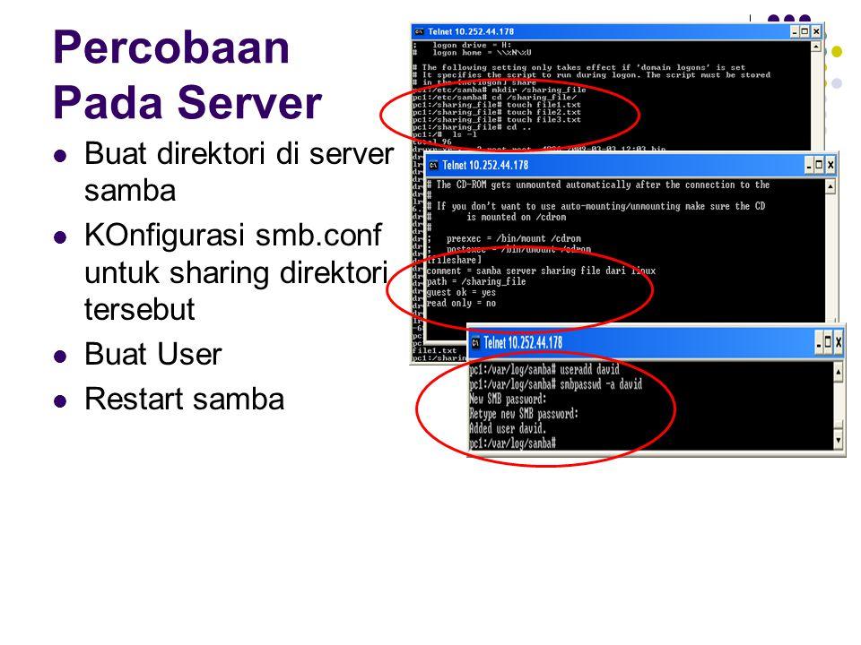 Percobaan Pada Server Buat direktori di server samba