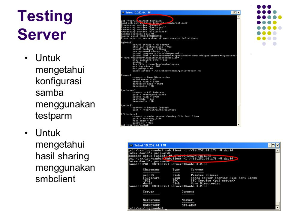 Testing Server Untuk mengetahui konfigurasi samba menggunakan testparm