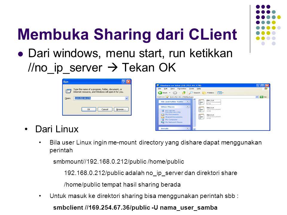 Membuka Sharing dari CLient