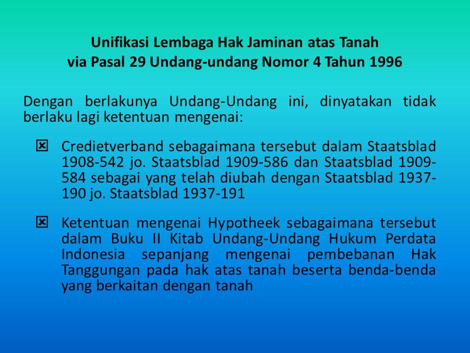 Unifikasi Lembaga Hak Jaminan atas Tanah via Pasal 29 Undang-undang Nomor 4 Tahun 1996