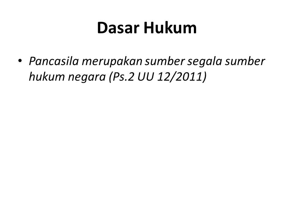 Dasar Hukum Pancasila merupakan sumber segala sumber hukum negara (Ps.2 UU 12/2011)