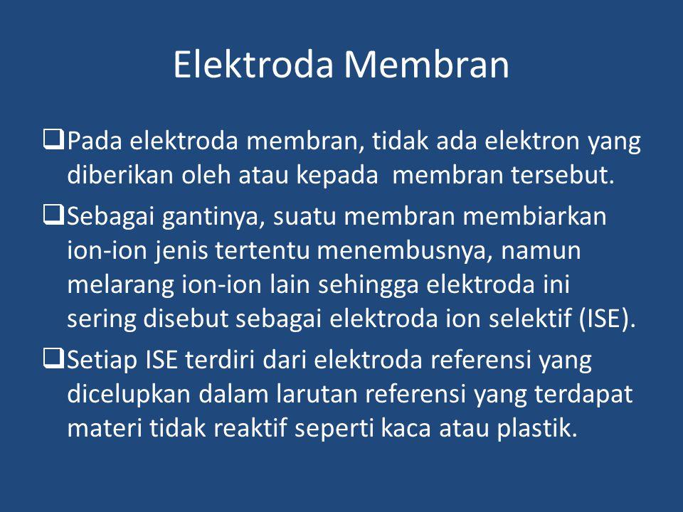 Elektroda Membran Pada elektroda membran, tidak ada elektron yang diberikan oleh atau kepada membran tersebut.