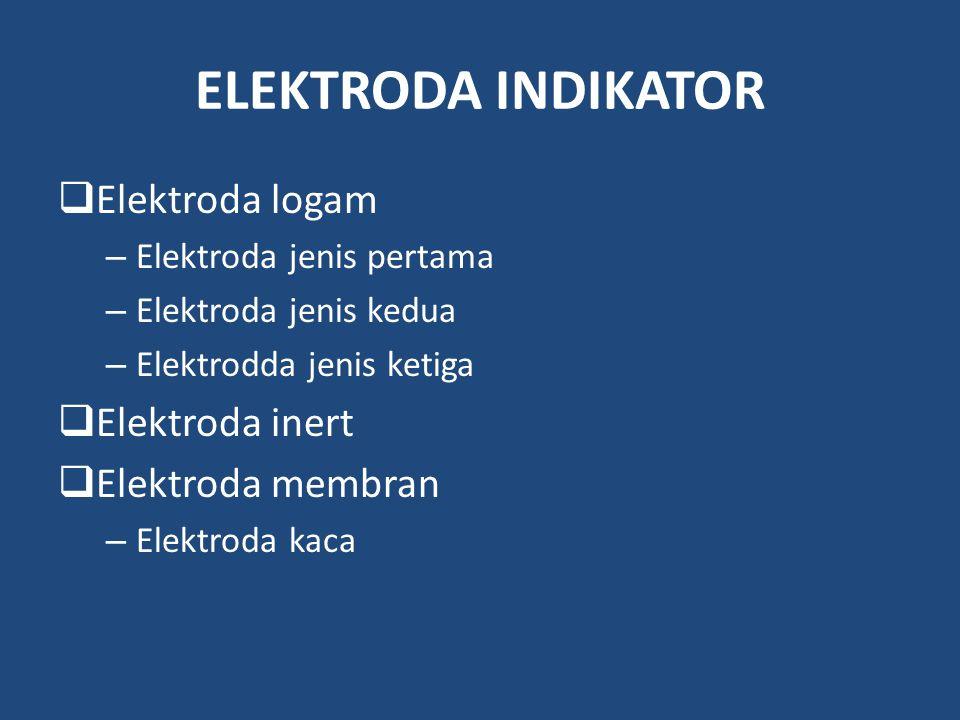 ELEKTRODA INDIKATOR Elektroda logam Elektroda inert Elektroda membran