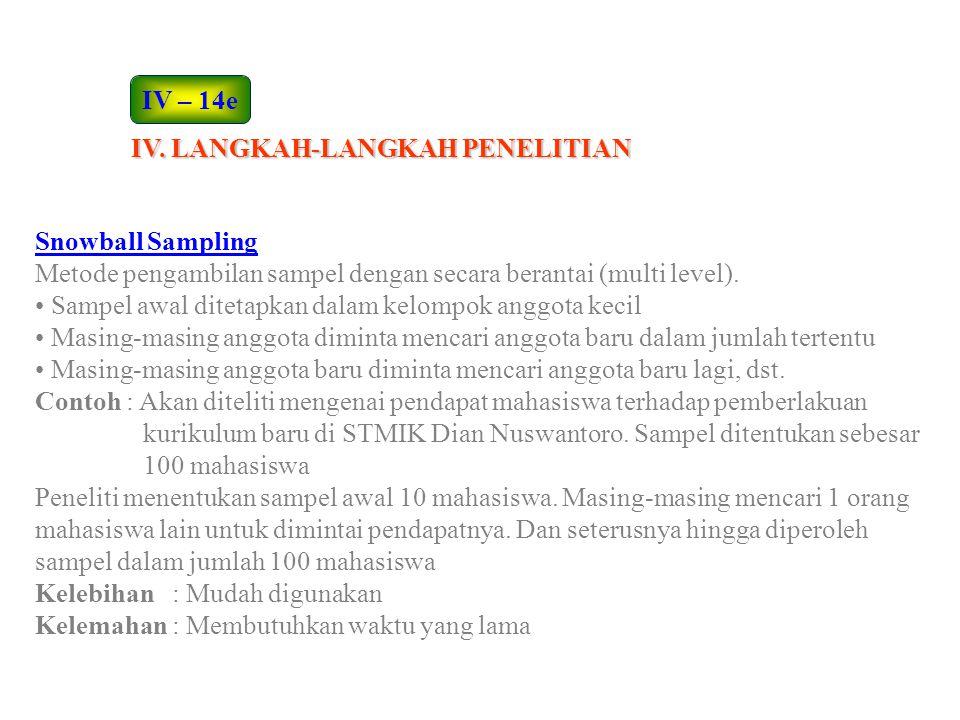 IV – 14e IV. LANGKAH-LANGKAH PENELITIAN. Snowball Sampling. Metode pengambilan sampel dengan secara berantai (multi level).