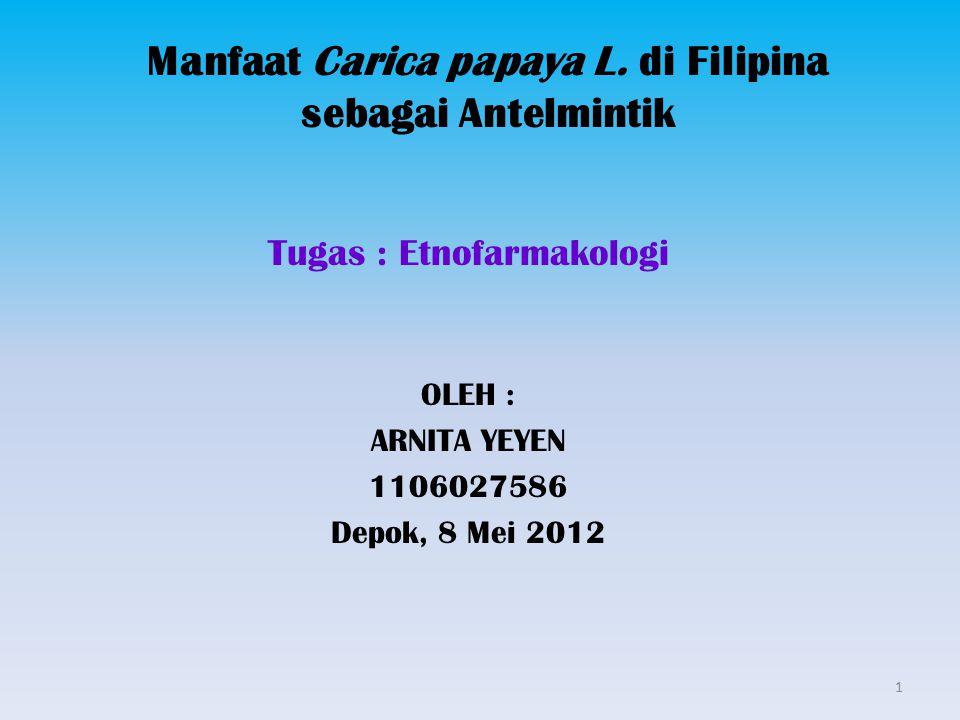 Manfaat Carica papaya L. di Filipina sebagai Antelmintik