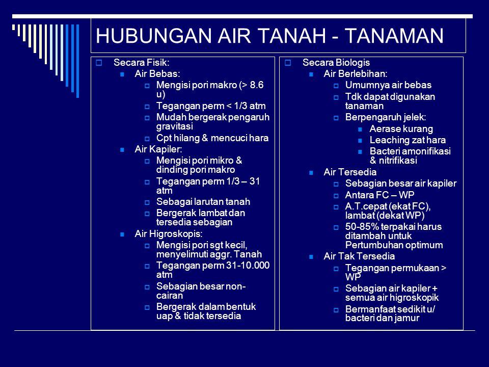 HUBUNGAN AIR TANAH - TANAMAN