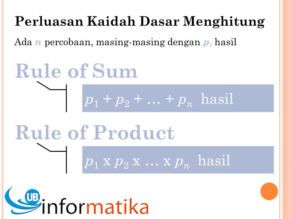 Rule of Sum Rule of Product p1 + p2 + … + pn hasil