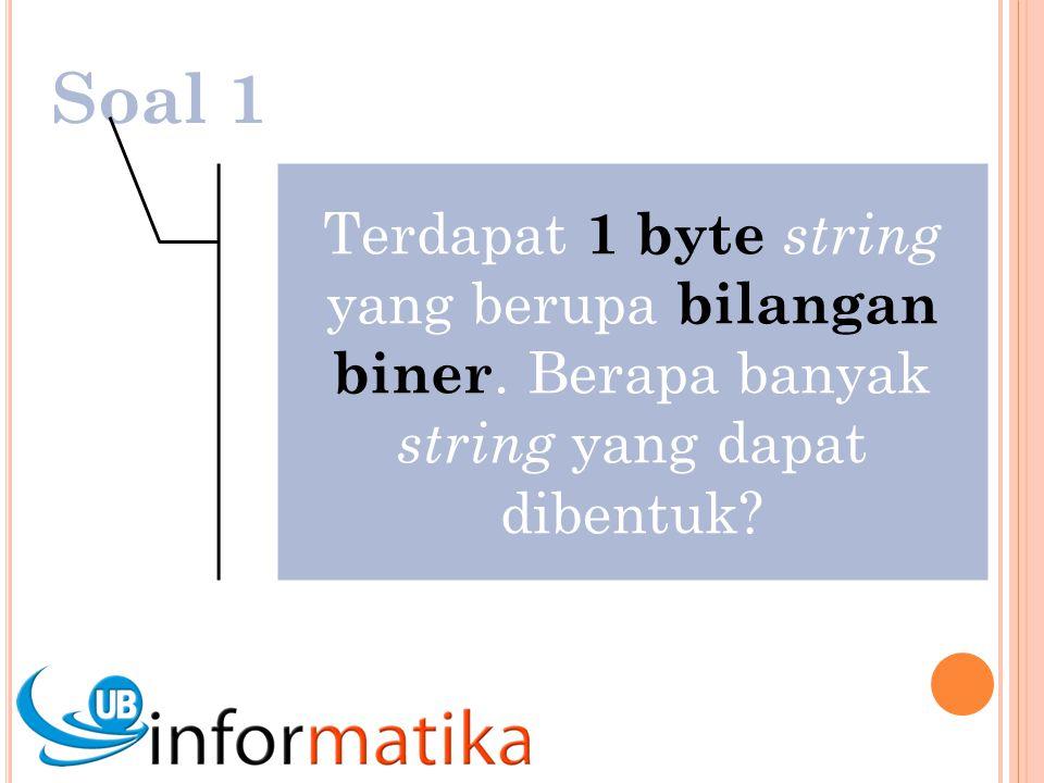 Soal 1 Terdapat 1 byte string yang berupa bilangan biner. Berapa banyak string yang dapat dibentuk