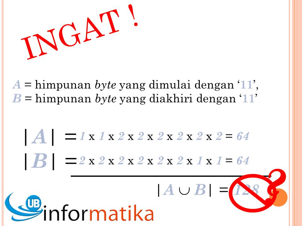 INGAT ! A = himpunan byte yang dimulai dengan '11', B = himpunan byte yang diakhiri dengan '11' |A| =