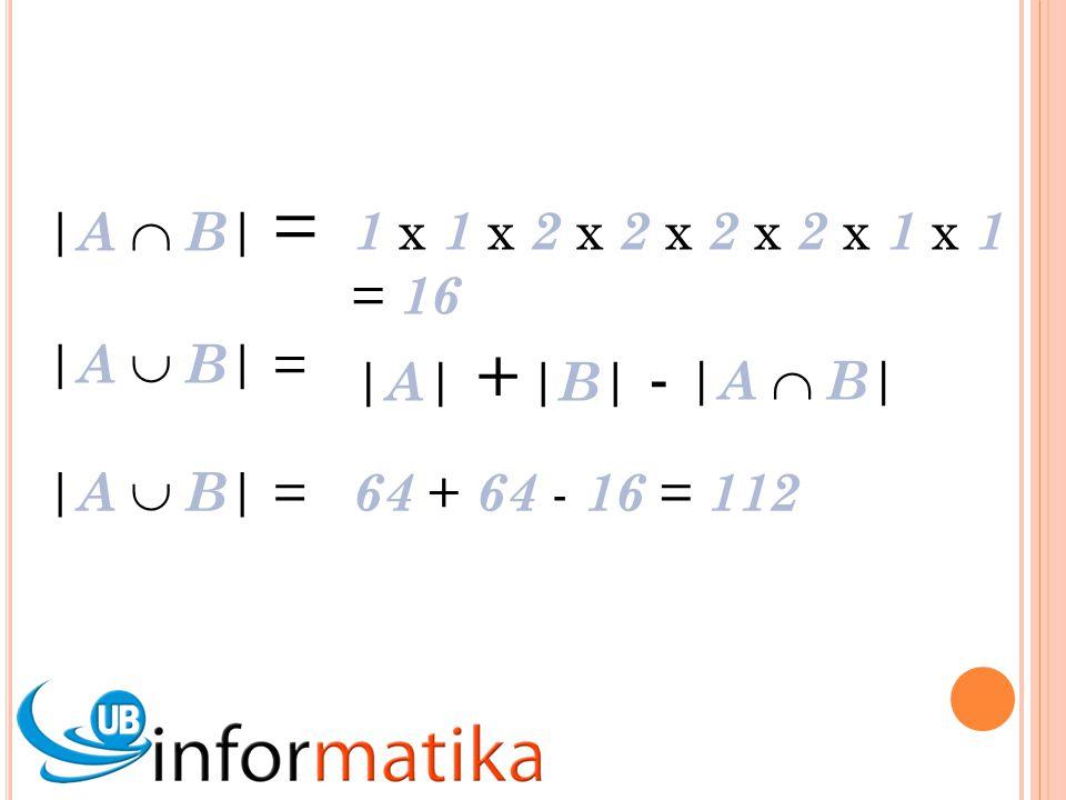 |A  B| = 1 x 1 x 2 x 2 x 2 x 2 x 1 x 1 = 16.