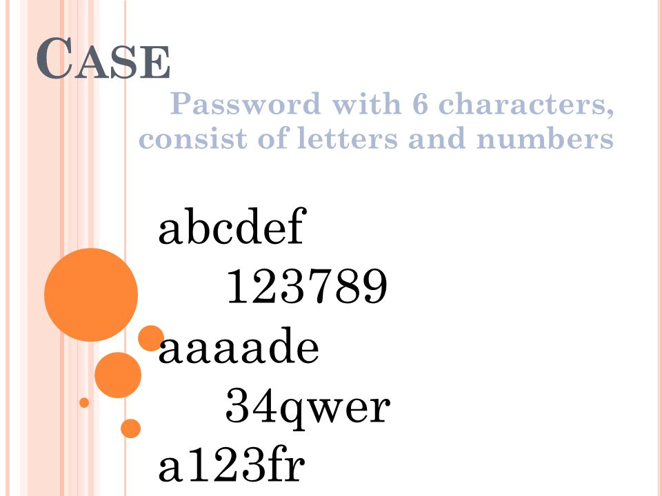 Password with 6 characters, consist of letters and numbers