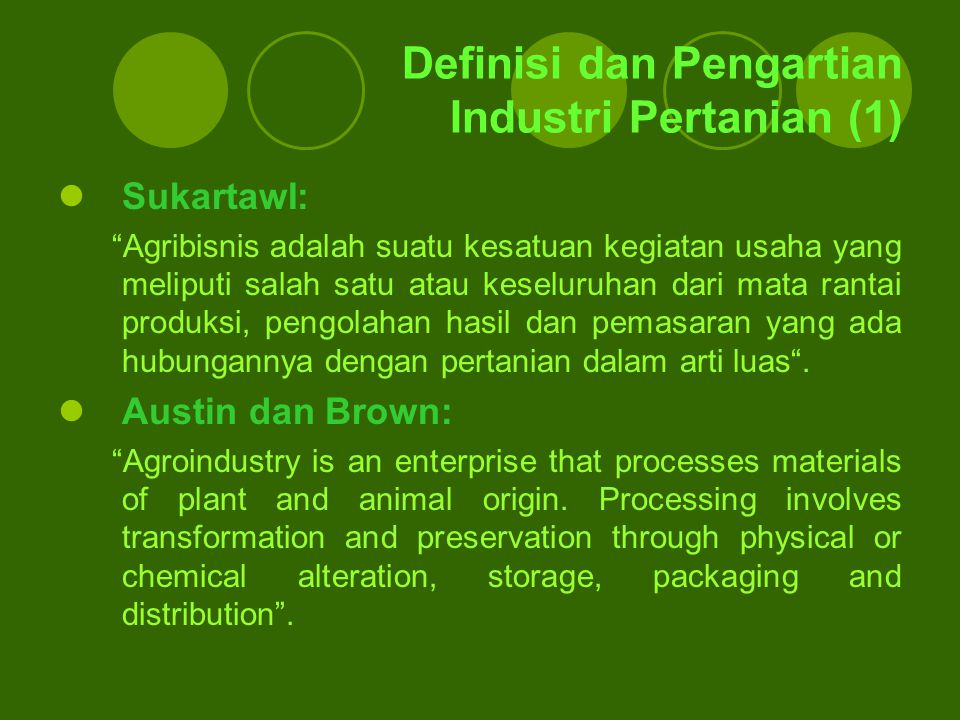 Definisi dan Pengartian Industri Pertanian (1)
