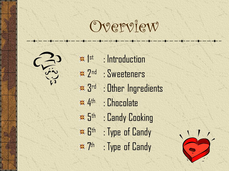 Overview 1st : Introduction 2nd : Sweeteners 3rd : Other Ingredients