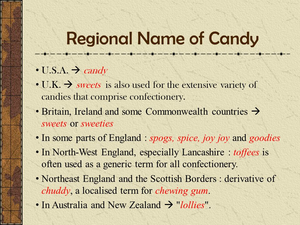 Regional Name of Candy U.S.A.  candy