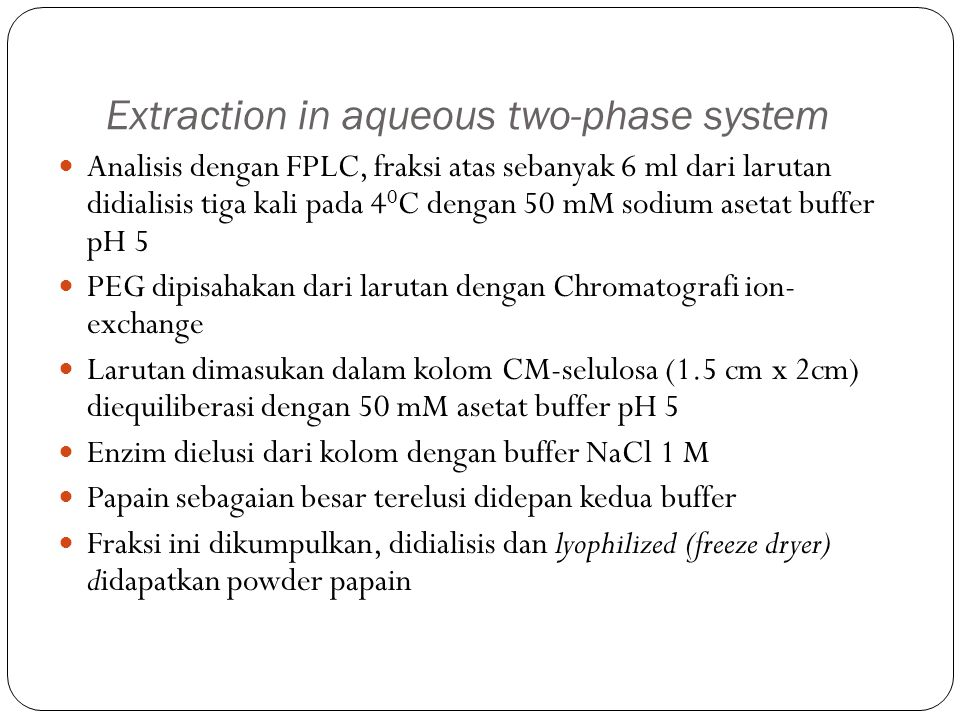 Extraction in aqueous two-phase system