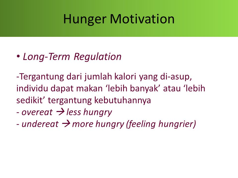 Hunger Motivation Long-Term Regulation