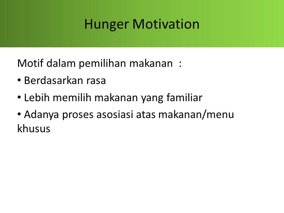 Hunger Motivation Motif dalam pemilihan makanan : Berdasarkan rasa