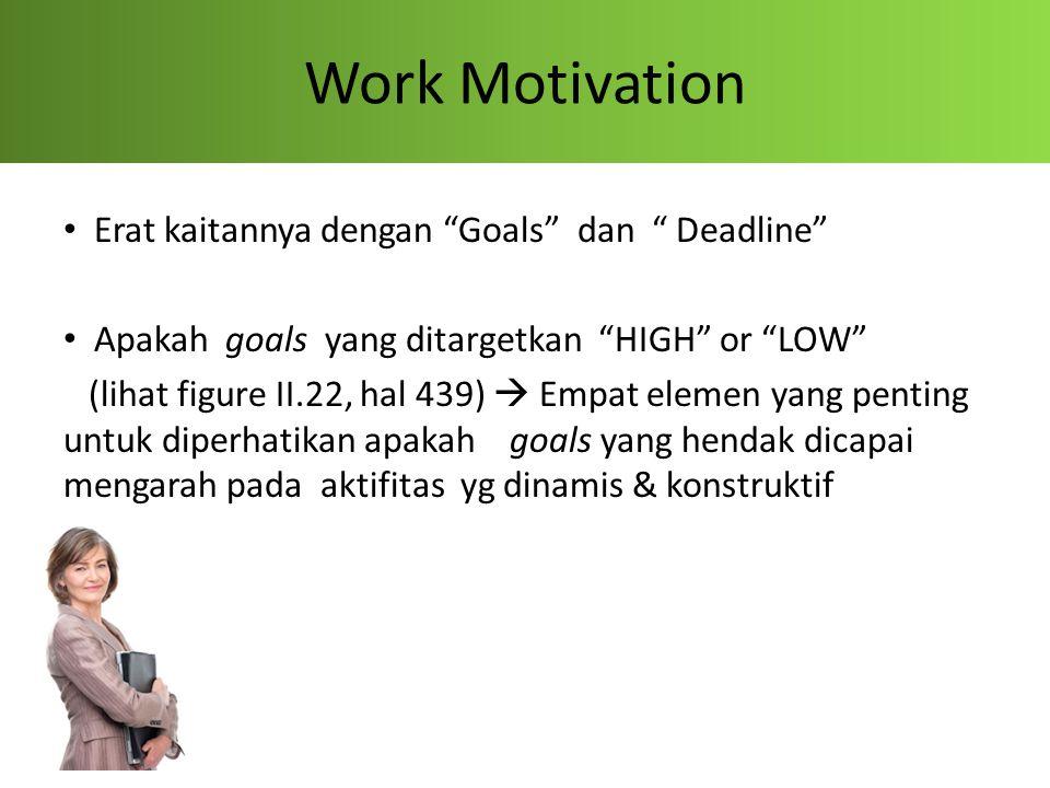 Work Motivation Erat kaitannya dengan Goals dan Deadline