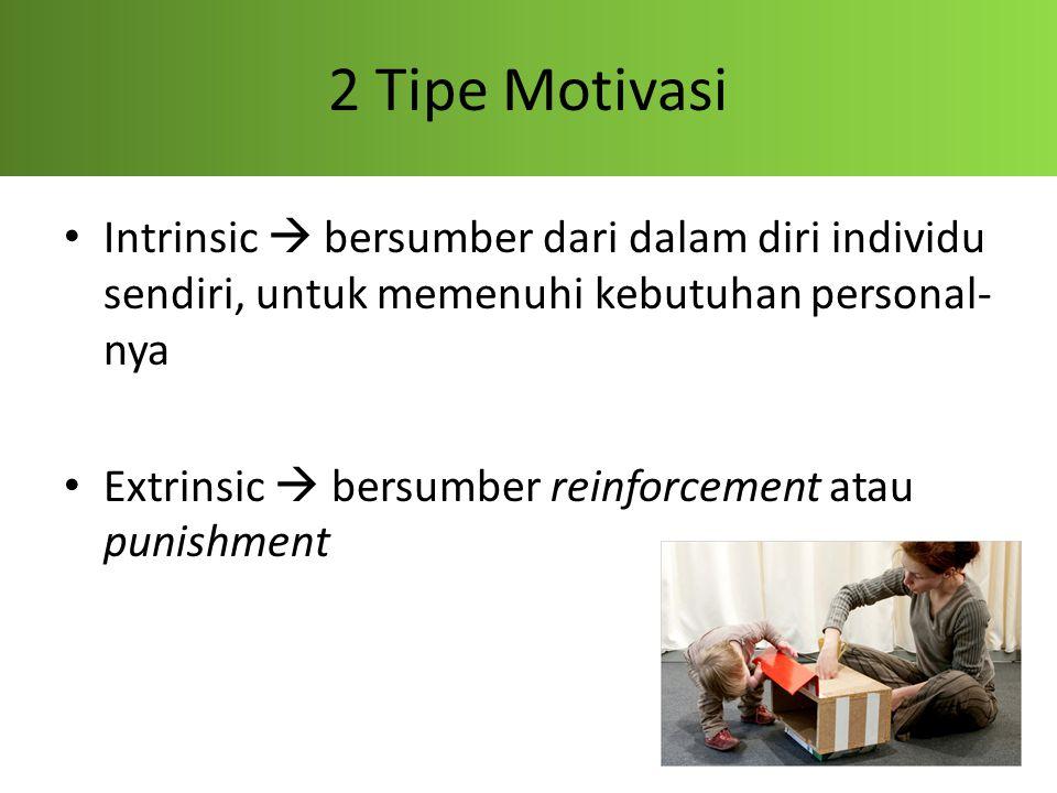 2 Tipe Motivasi Intrinsic  bersumber dari dalam diri individu sendiri, untuk memenuhi kebutuhan personal-nya.