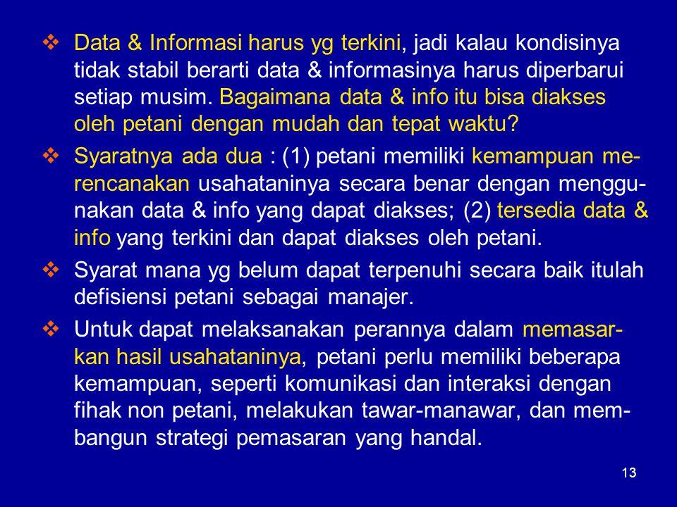 Data & Informasi harus yg terkini, jadi kalau kondisinya tidak stabil berarti data & informasinya harus diperbarui setiap musim. Bagaimana data & info itu bisa diakses oleh petani dengan mudah dan tepat waktu