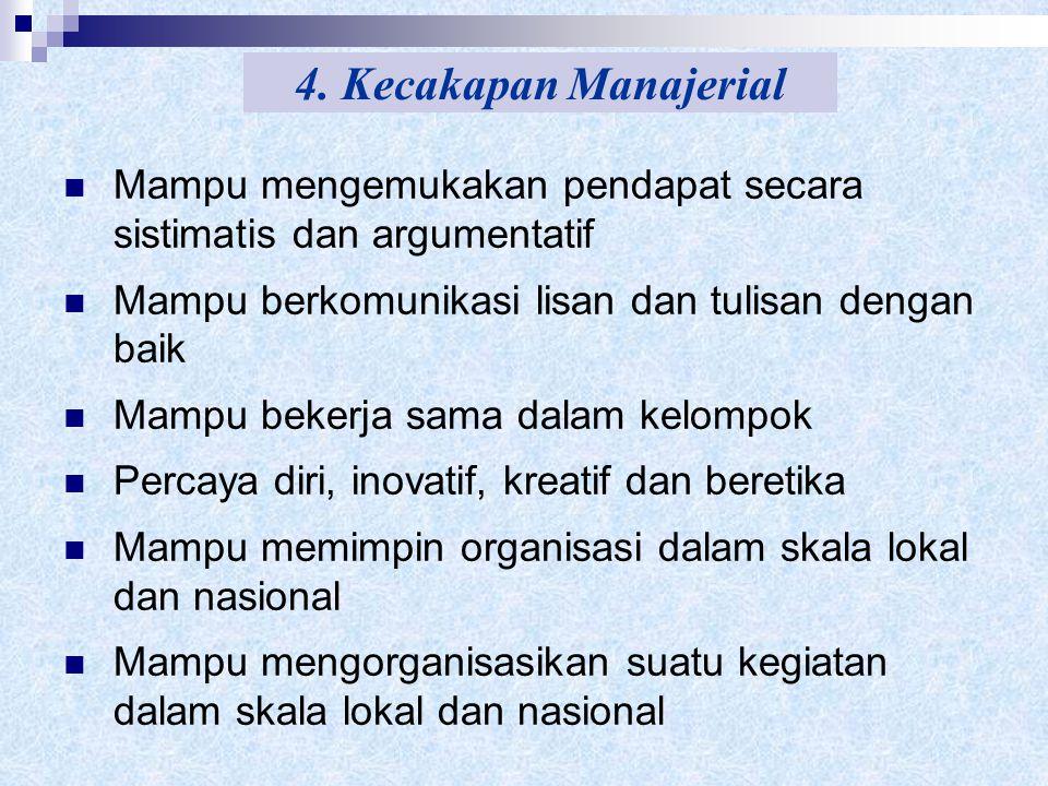 4. Kecakapan Manajerial Mampu mengemukakan pendapat secara sistimatis dan argumentatif. Mampu berkomunikasi lisan dan tulisan dengan baik.