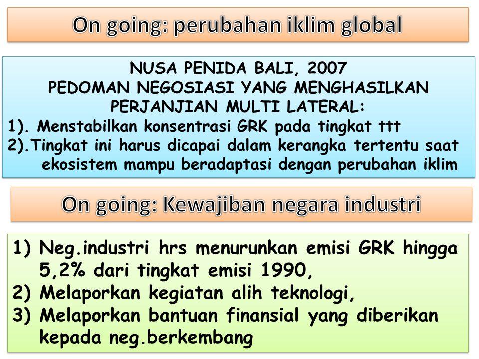 On going: perubahan iklim global On going: Kewajiban negara industri