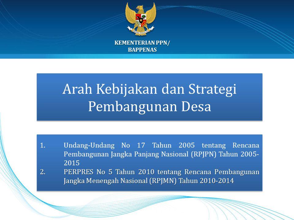Arah Kebijakan dan Strategi Pembangunan Desa