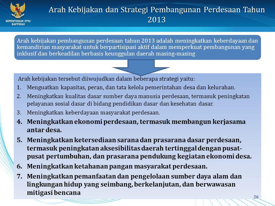 Arah Kebijakan dan Strategi Pembangunan Perdesaan Tahun 2013