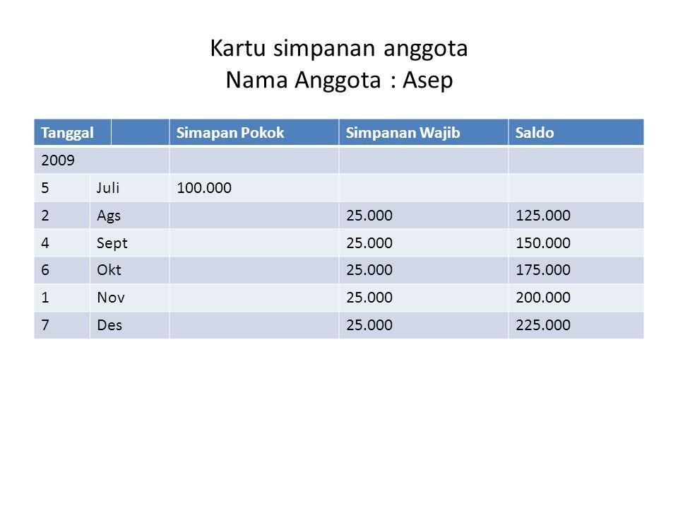 Kartu simpanan anggota Nama Anggota : Asep