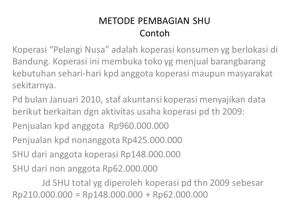METODE PEMBAGIAN SHU Contoh
