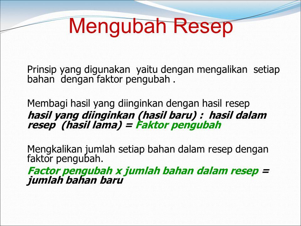 Mengubah Resep Membagi hasil yang diinginkan dengan hasil resep
