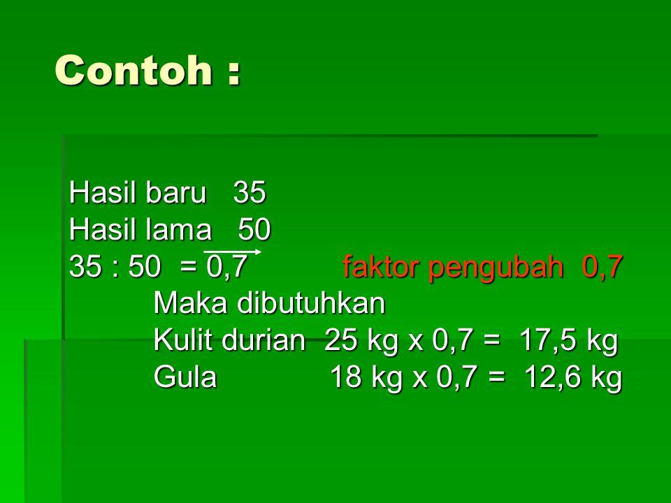 Contoh : Hasil baru 35 Hasil lama 50 35 : 50 = 0,7 faktor pengubah 0,7