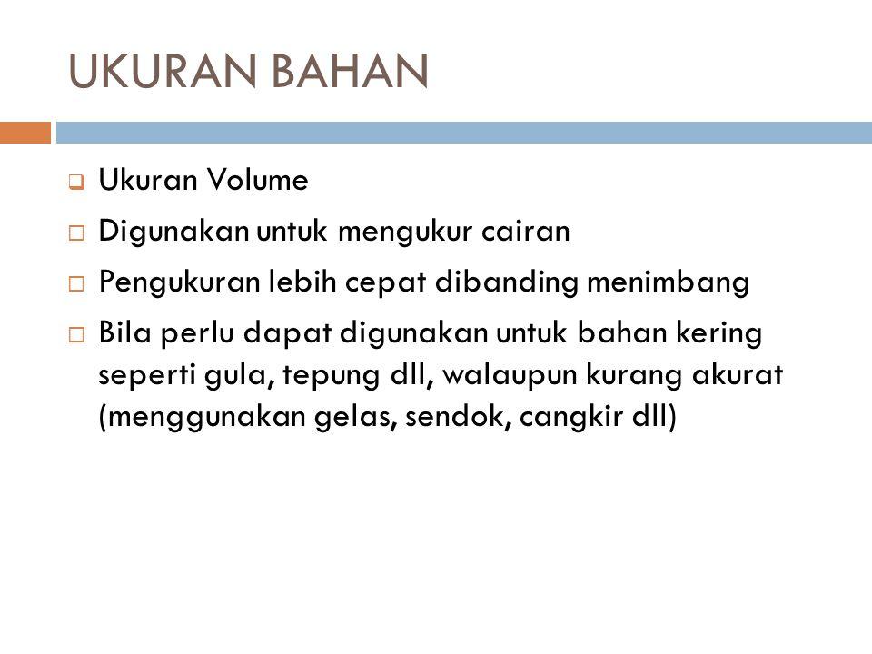 UKURAN BAHAN Ukuran Volume Digunakan untuk mengukur cairan