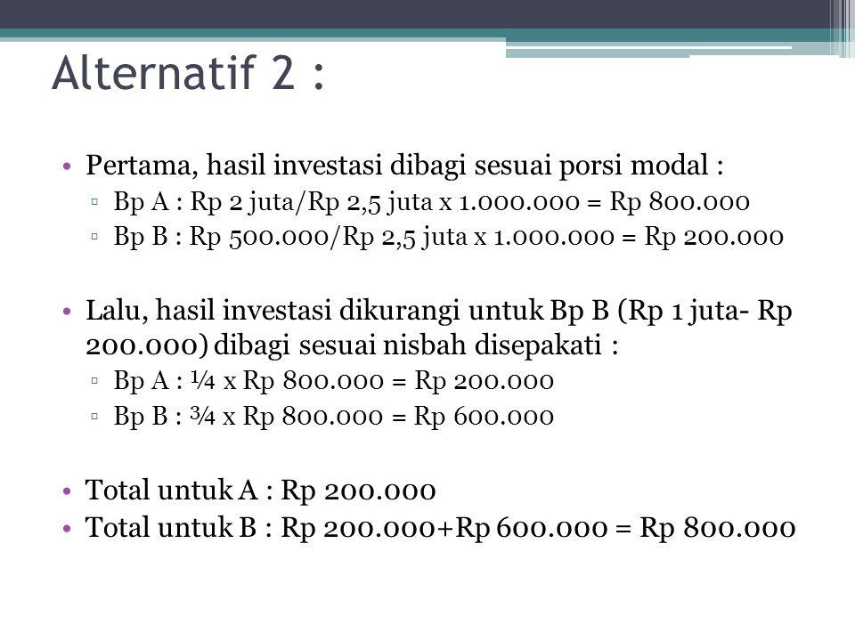 Alternatif 2 : Pertama, hasil investasi dibagi sesuai porsi modal :