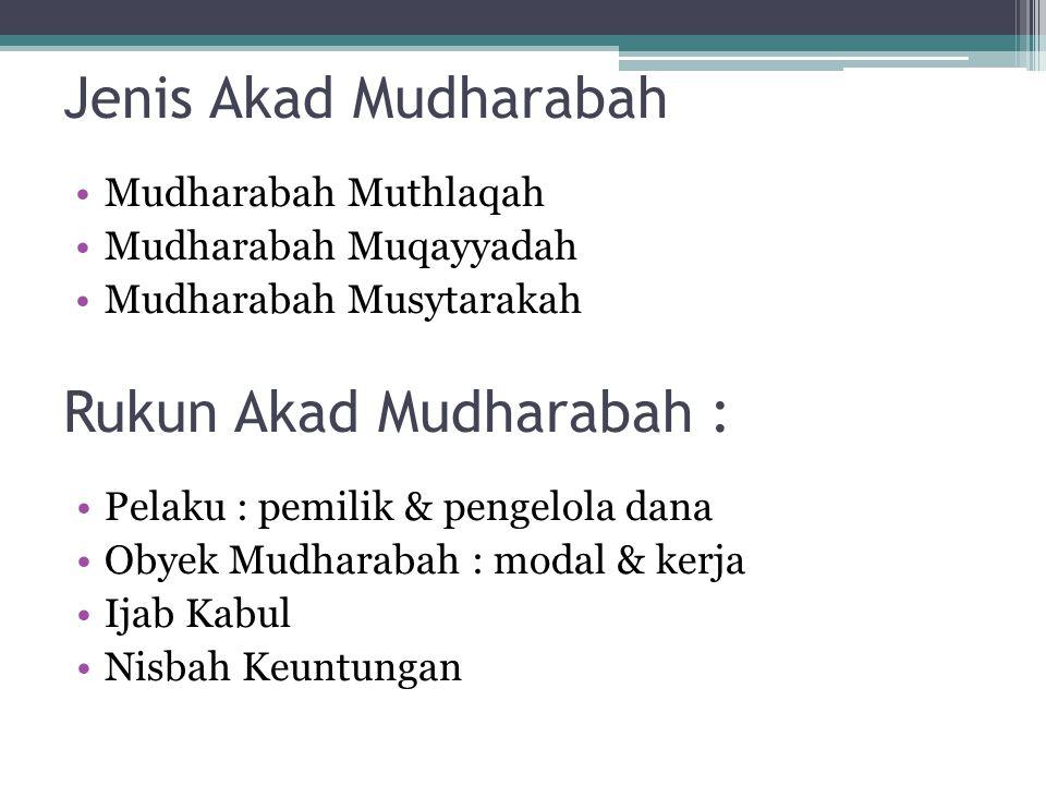 Rukun Akad Mudharabah :