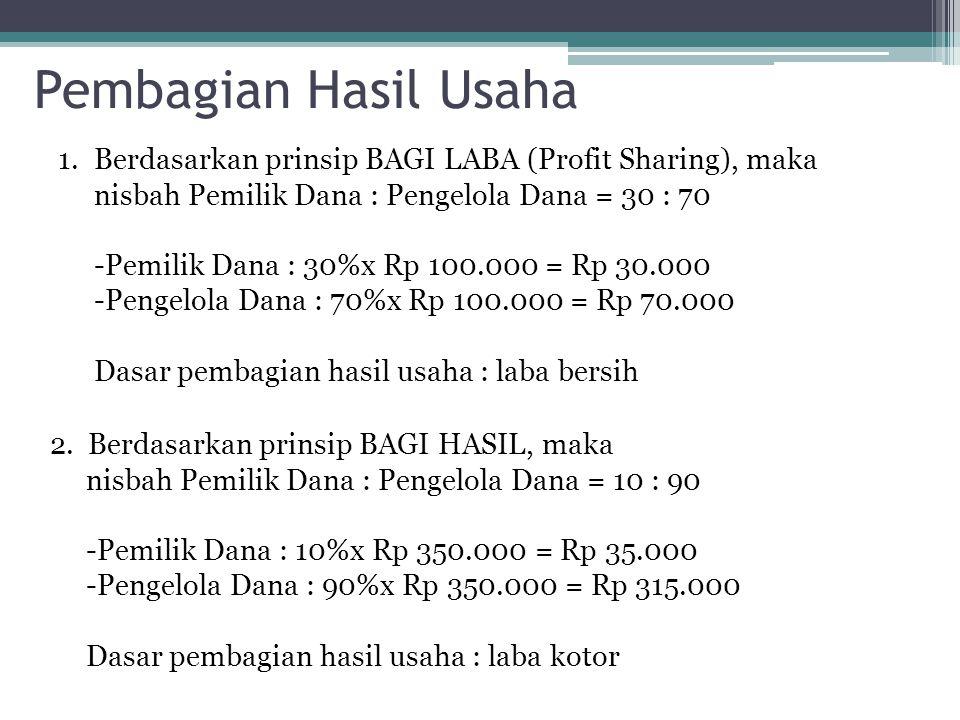 Pembagian Hasil Usaha Berdasarkan prinsip BAGI LABA (Profit Sharing), maka nisbah Pemilik Dana : Pengelola Dana = 30 : 70.
