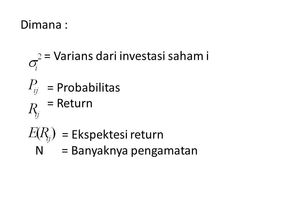 Dimana : = Varians dari investasi saham i = Probabilitas = Return = Ekspektesi return N = Banyaknya pengamatan