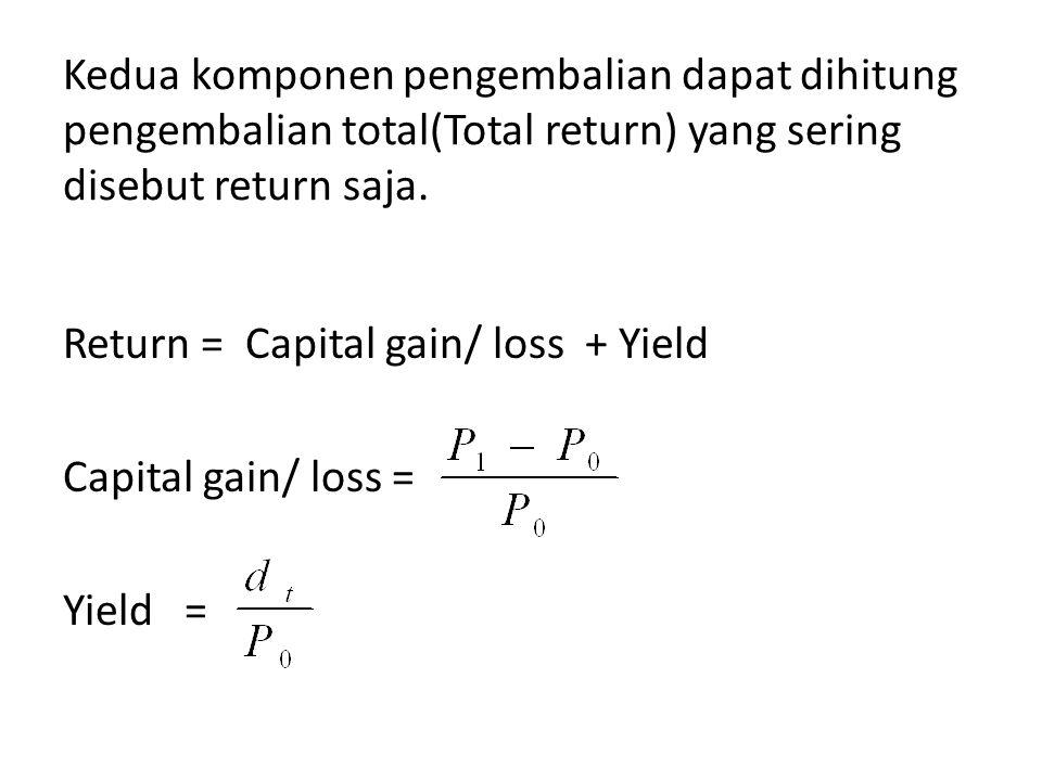 Kedua komponen pengembalian dapat dihitung pengembalian total(Total return) yang sering disebut return saja.